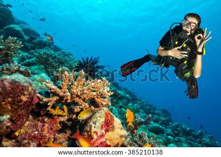 Scuba diver explore a coral reef showing ok sign #385210138
