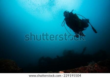 Scuba diver exploring world war II shipwreck in Coron area, Palawan, Philippines. #229195504