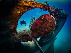 Scuba Diver In Shipwreck, Malta