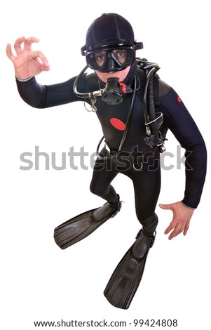 Scuba Diver isolated on white background