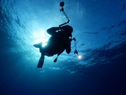 scuba diver photographer underwater taking photos blue ocean scenery of scubadiver with  hobby
