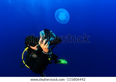 SCUBA Diver photographing a jellyfish in deep, blue open ocean #115806442