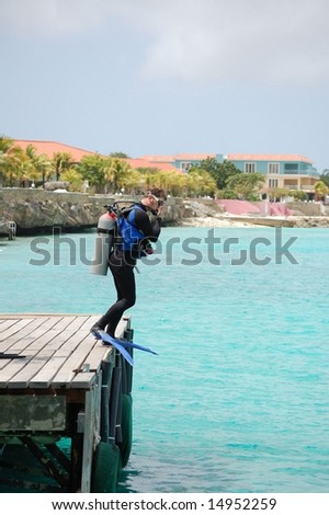 Scuba diver ready to leap off dock.