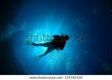 Scuba diver silhouette and sun #259185434