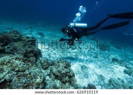Scuba diver swim through coral reef. #626910119