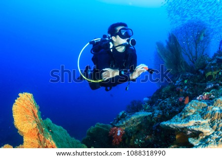 SCUBA diver swimming over a tropical coral reef #1088318990