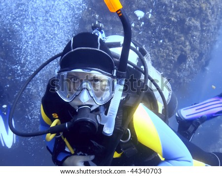 Scuba diver underwater looking at camera.