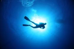 Scuba Diver underwater silhouettes against sun
