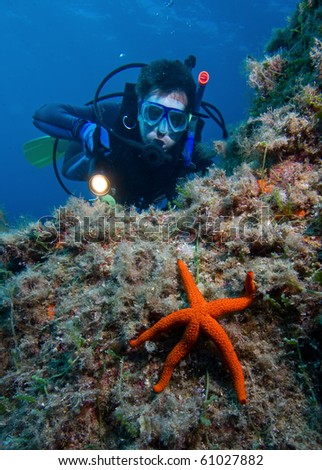 Scuba diver with red starfish in front