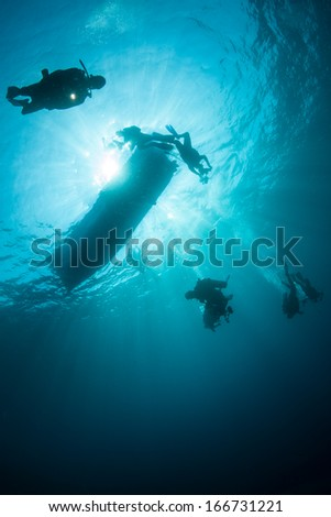 Scuba divers descend from their boat into the unknown. The divers are exploring a coral reef in Indonesia where marine diversity is very high. #166731221