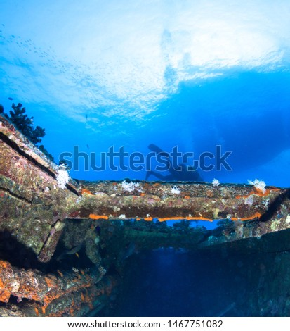 Scuba divers explores shipwreck. Red sea, Egypt.  #1467751082