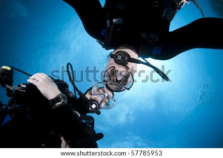 Scuba divers hovering together on a safety stop.