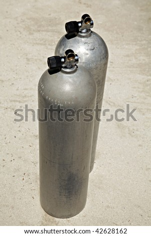 Scuba diving Aluminum pressure air Tanks.