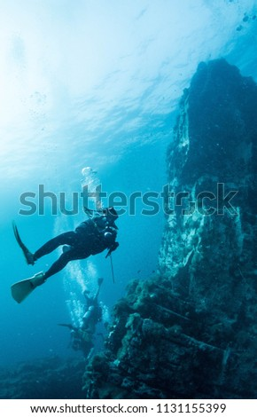 scuba diving - divers and fishes - explore marine underwater world #1131155399