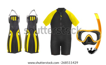 Scuba diving equipment - diving mask, wetsuit and flippers isolated on a white background