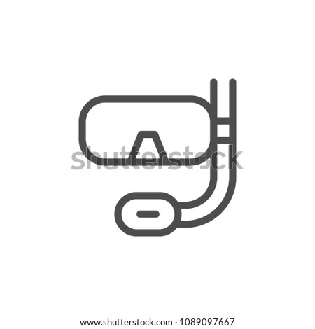 Scuba diving mask line icon isolated on white
