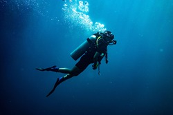 Scuba diving safety stop performed in the deep blue sea