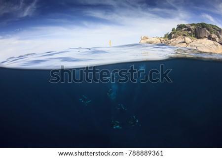 Scuba diving underwater half and half split photo