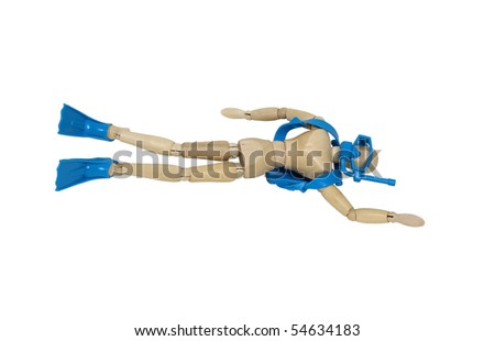 Scuba diving viewed from below as the model enjoys the world under the water - path included