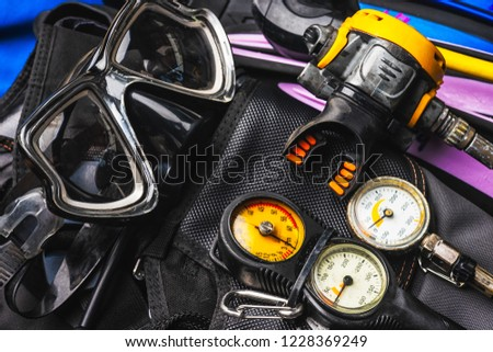 Scuba Fins, Regulator/Octopus, Depth Gauge , Balanced Regulator ,Power Inflator ,Dive Mask and Snorkel ,Scuba Gear for a Dive on a Boat
