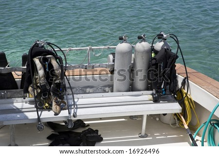 Scuba Gear on a Dive Boat in the Caribbean