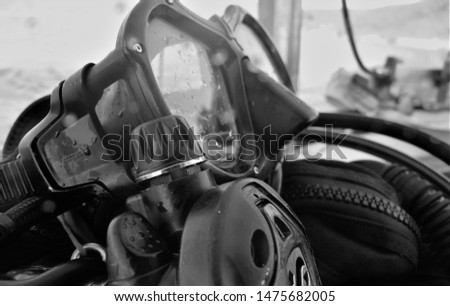 Scuba Gear, scuba equipment, Scuba diving, scuba mask, black and white