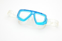 Scuba mask goggles with breathing tube on isolated white background