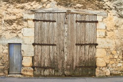 Scuffed and scratched hunter vintage door. Provence. southern France