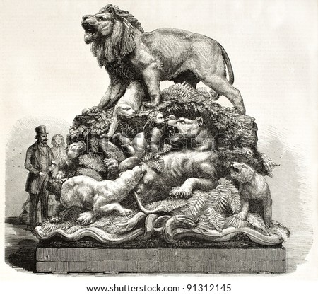 Sculpted group depicting fierce beasts tamed by love. Created by Marc after sculpture by Lechesne, published on L'Illustration, Journal Universel, Paris, 1858