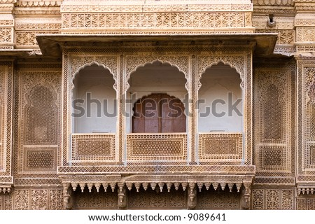 Sculpted pavilion-style balcony of the Rajmahal palace - Jaisalmer, Rajasthan, India - stock photo