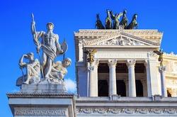 Sculptural details of the monument to Vittorio Emmanuelle II, also known as Altare della Patria (Altar of the Fatherland) on Venezia square (Piazza Venezia), Rome, Italy. UNESCO world heritage site