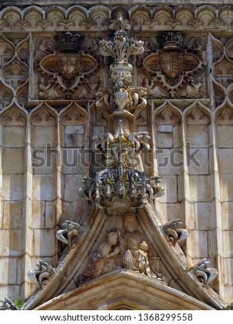 Sculptural ornamentation, in stone laced of the Monastery of Santa Maria of the Victory that is a monastery located in the town of Batalha, in the Central region of Portugal (late fourteenth century) #1368299558