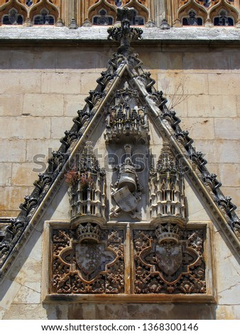 Sculptural ornamentation, in stone laced of the Monastery of Santa Maria of the Victory that is a monastery located in the town of Batalha, in the Central region of Portugal (late fourteenth century) #1368300146