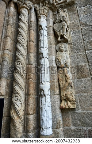 Sculptural set of biblical scenes on the jambs of the doors of the Platerias of the cathedral of Santiago de Compostela Photo stock ©
