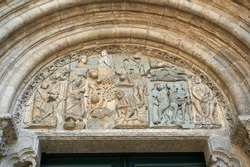 Sculptural set of scenes of Christ tempted by demons on the of the doors of the Platerias of the cathedral of Santiago de Compostela