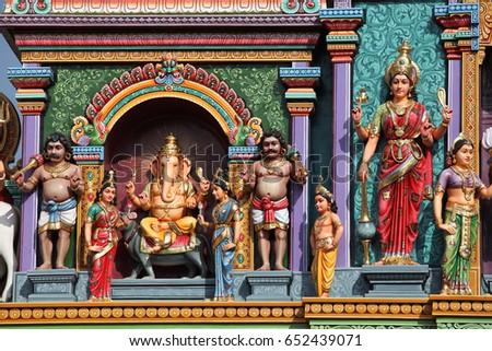 Sculpture, architecture and symbols of Hinduism and Buddhism, Singapore, Southeast Asia #652439071