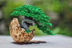 Sculpture art handmade wire bending aluminum shape tree bonsai. To bring home decor, garden and offices.