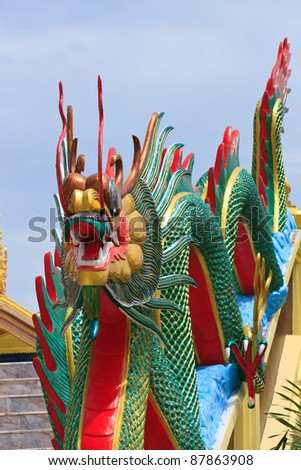 sculpture dragon at Wat Muang Angthong province Thailand