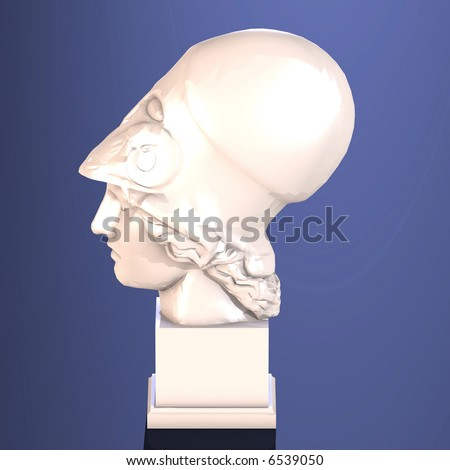 Sculpture head of goddess Athena Image contains a Clipping Path / Cutting Path for the main object