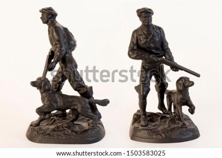 "Sculpture ""Hunter with a dog"" cast iron, casting, Kasli 1977 #1503583025"