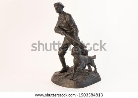 "Sculpture ""Hunter with a dog"" cast iron, casting, Kasli 1977 #1503584813"