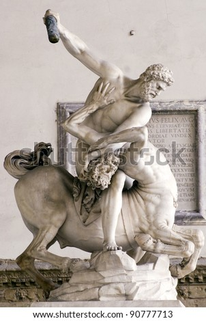 Sculpture in piazza della signoria, florence, italy