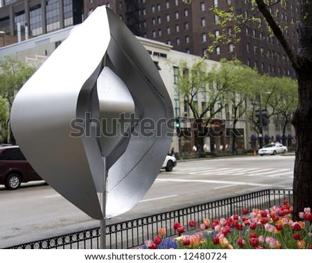 Sculpture in the garden along Michigan Avenue