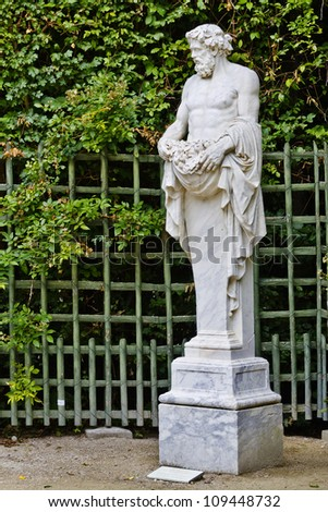 Sculpture in the garden of the Versailles Palace. The Palace Versailles was a royal chateau. It was added to the UNESCO list of World Heritage Sites. Paris, France.
