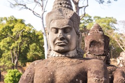 Sculpture in the South Gate of Angkor Tom complex. Siem Reap, Cambodia