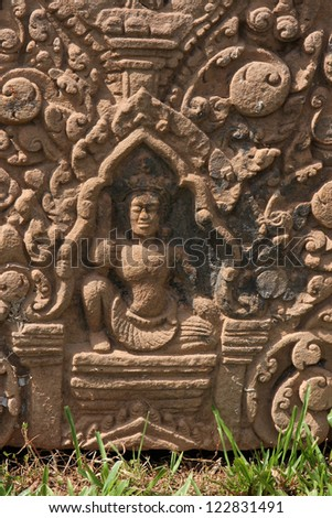 Sculpture in Vat Phou temple, in south Laos