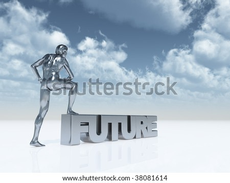 Sculpture man stands with one foot on the word future under blue cloud sky 3d illustration - D floors the future under your feet ...
