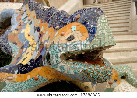 Sculpture of a dragon in Park Guell, Barcelona Spain