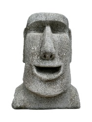 Sculpture of a Moai carved isolated on white background