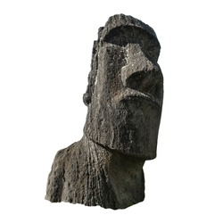 Sculpture of a Moai from Ahu Tongariki (Easter Island, Chile) isolated on white background